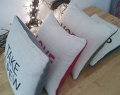 Reserved for Gillian - RESTORED hand printed cushion.