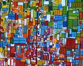 "Original Acrylic Painting Abstract Art 30x24 ""Windows"""