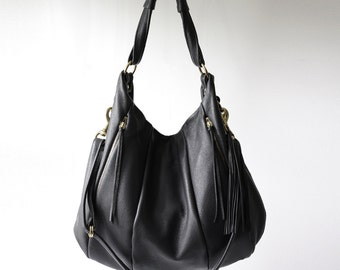 Oversized leather hobo bag - OPELLE Lotus Weekender - Large Leather Carry All bag