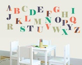 Alphabet Nursery Art - Alphabet Wall Decals - Aztec Patterns - Aztec Wall Art - Learning Wall Decals - Nursery Vinyl Decals - ABC Decals