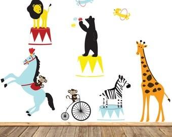 Vinyl Wall Decal  Circus Wall Art - Circus Vinyl Decals - Show Animals Wall Decals - Circus Lion ArtVinyl Wall Decals