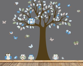 Vinyl Wall Decal  Children Wall Decal Wall Sticker tree decal - pattern leaf tree - with owls birds butterflies