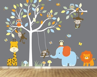 Jungle Safari Tree - Tree Nursery Decal - Kids Wall Sticker - Vinyl Wall Decal