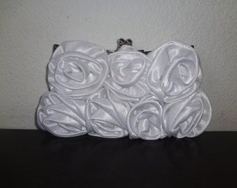 White Rosette Satin Clutch - White Bridal Clutch
