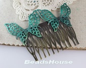 20% off - 2pcs Verdigris Patina Blue Double Butterfly With 12pin Hair Combs, Nickel Free