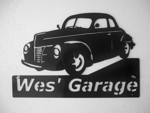 1940 Ford, Personalized Metal Sign- Man Cave- Classic - Hot Rod -Garage Sign -Satin Black