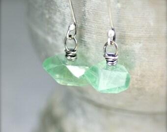 Rustic Fluorite Gemstone Earrings with Oxidized Sterling Silver. Simple Fluorite Earrings.  Fluorite Nugget Earrings