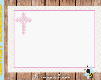 Cross note card. Instant download