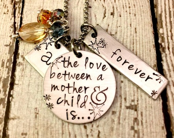 Mother Daughter Son Personalized Cluster Charm Necklace Mommy Gift Love Between Mother and Child Forever Initial Swarovski Crystals