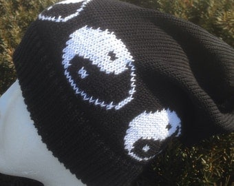 Cotton Yin Yang Slouchy  Beanie Stocking Cap or headband with yin yang pattern     Machine knit in Black Cotton with White Ying Yang