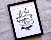Personalized Wedding Gift. What God has joined. Custom Scripture verse for newlyweds. LA372