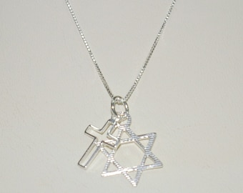 6 pieces Messianic Star of David and Cross Two Charms Pendants with Box Chain Necklaces Lot - Sterling Silver 925 - Free Shipping Worldwide