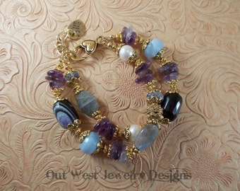 Cowgirl Bracelet - Chunky Amethyst - Purple and Blue Agate - Labradorite and Pearls