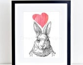 Bunny Rabbit Printable Art, Nursery Wall Decor, Heart Print, Animal Print, Rabbit Illustration, Nursery Art