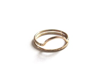 Handmade Sterling Silver or 14k Gold Filled Arc Stacking Ring / Half Circle Ring with Stripes