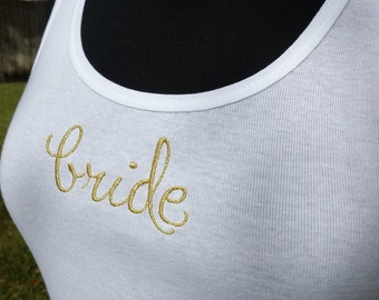 Metallic Gold Silver Embroidered Tank for Bride Bridesmaid Photo Shoot Bachelorette Party Wedding