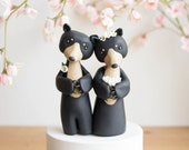 Black Bear Wedding Cake Topper by Bonjour Poupette