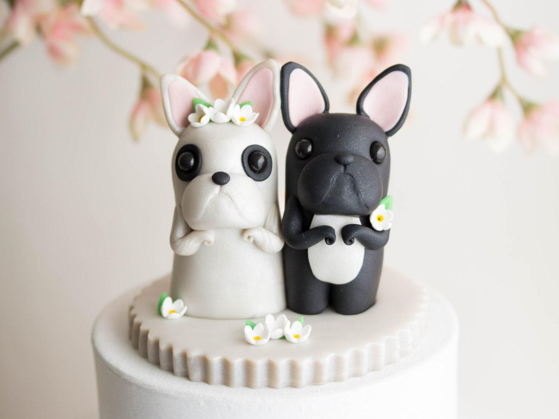 Black and White French Bulldog Wedding Cake Topper Frenchie