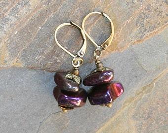 Plum Purple Earrings, Magenta Earrings, Hematite Earrings, Stone Earrings, Rustic Earrings, Brass Earrings, Bohemian Handmade Earrings