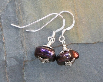 Plum Purple Earrings, Magenta Earrings, Hematite Earrings, Stone Earrings, Rustic Earrings, Bohemian Earrings, Handmade Earrings, Earthy