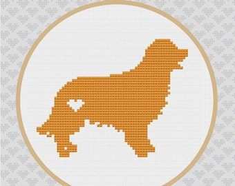 Golden Retriever Silhouette Cross Stitch PDF Pattern