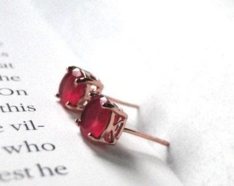Ruby Earrings, Ruby Rose Gold Gemstone Studs, 18k Rose Gold Plated Ruby Studs, Rose Gold Earrings, Gold Earrings, Filigree Rose Gold Setting