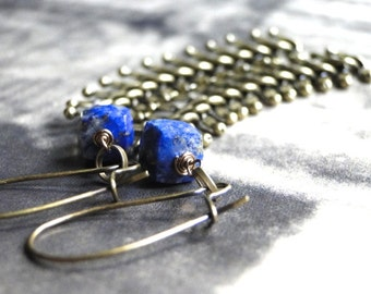SALE Lapis Dangle Earrings / Gift for Her / Fishbone Dangle Gemstone Earrings / Jewelry / Handcrafted Earrings / Statement Earrings