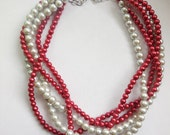 Red pearl silver grey pearl beaded silver chain twisted multi strand statement necklace