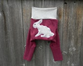 SMALL Upcycled Wool Longies Soaker Cover Diaper Cover With Added Doubler Raspberry Pink/ White With Bunny Applique SMALL 3-6M
