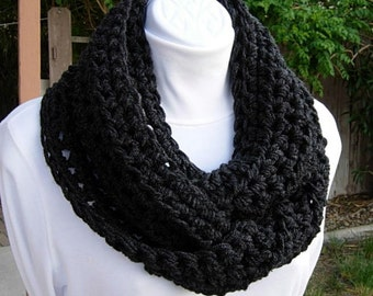 INFINITY SCARF, Dark Gray Cowl, Grey Loop Scarf, Solid Gray Scarf, Crochet Scarf, Soft Winter Scarf, Off Black Cowl..Ready to Ship in 2 Days