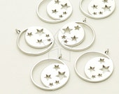 PD-896-MS / 2 Pcs - Constellation Round Pendant for Necklace, Matte Silver Plated over Brass / 15mm