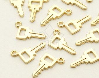 PD-980-MG / 2 Pcs - Mini key Charm Pendant, Matte Gold Plated over Brass / 5mm x 11mm