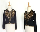 Vintage 50s Sweater - 50s cardigan - black sequin sweater - beaded sweater - sweater girl - cropped - Medium Large