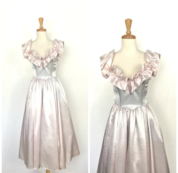 Vintage 1980s Party Dress Fit And Flare Ball By