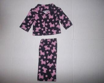 "black/pink Scottish terrier dog  pajamas for 18"" American Girl doll"