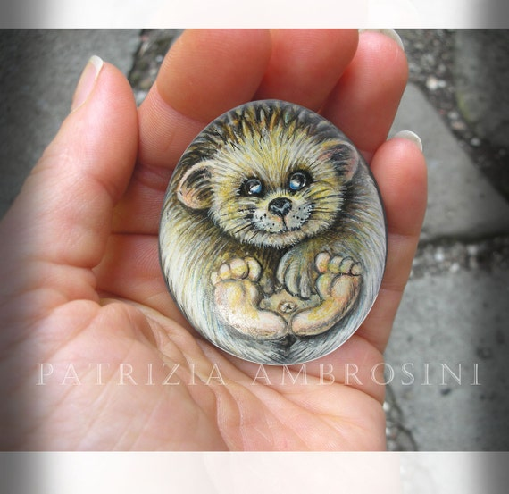 Hedgehog No.4  Handpainted rock painting painted stone miniature painted rock pebble fine art