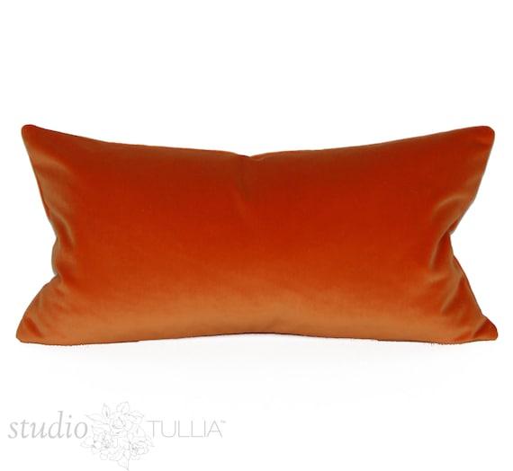 12 Inch Throw Pillow Covers : Orange Velvet Pillow Cover 12 x 22 inch Lumbar Kravet