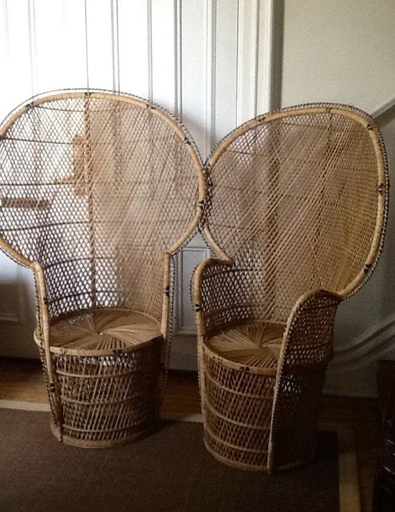Vintage Wicker Peacock Chair Rattan High Back Fan Chair