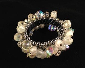 50's Cha Cha Bracelet, Vintage Jewelry, Aurora Borealis Glass Beaded Bracelet, Expansion Bracelet, 1950s Stretch Bracelet, Chunky Bracelet