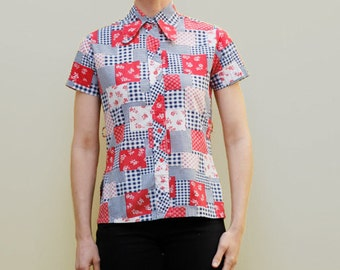 Vintage 70's women's blouse, patchwork pattern fabric, floral and gingham, red white & blue - Small