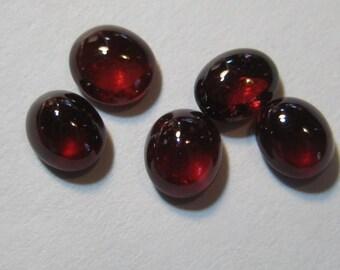 Rhodolite Garnet cabs  ......  approx 6 x 5 mm ... 5 pieces ...   B1596
