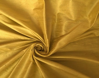 Gold 100% Dupioni Silk Fabric Wholesale Roll/ Bolt