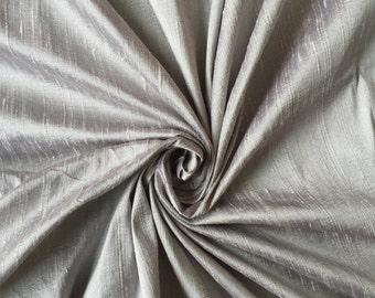 "Silver 100% Dupioni Silk Fabric Wholesale Roll/ Bolt 55"" wide"