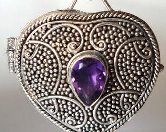 Heart Shaped Sterling Silver locket prayer box Pendant with February birthstone purple amethyst PL6