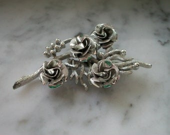 Signed Coro Silvertone Roses on Stem Brooch/Pin