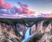 Sunset, Lower Falls,  Grand Canyon of Yellowstone, Yellowstone National Park, Wyoming Art, Fine Art  Photography, Nature Photography