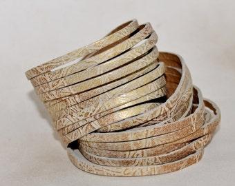 Sliced Cream and Gold Leather Wrap Bracelet ,Metallic Gold Multi-Strand Leather Bangle
