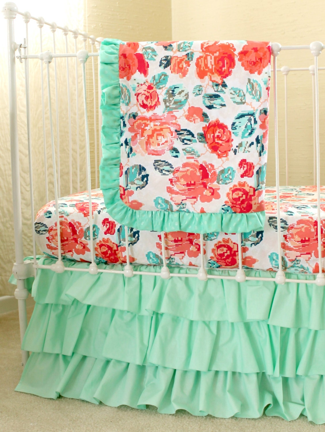 Pixie Park Coral Mint And Navy Baby Bedding Custom Baby