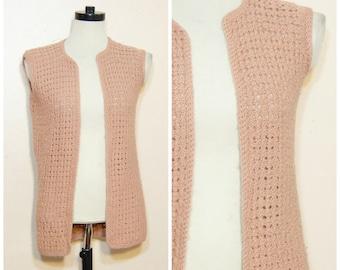 70s Crochet Sweater Vest Mauve Pink Small Medium Hippie Boho Gypsy