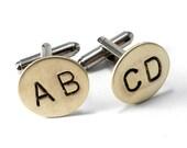 CUSTOM Monogram Letter Cuff Links - Personalized Cufflinks - Hand Stamped Brass, Any 2 LETTERS, Initials, WEDDING Cuff Links Groomsmen Groom